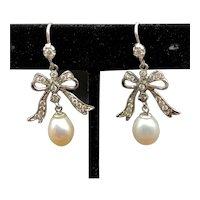 18K, Replica Antique French Pearl Drop & Diamond Bow Earrings