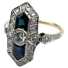 Art Deco 18k, Platinum, Diamond & Sapphire Ring