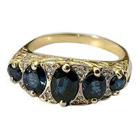 14k, Diamond & Sapphire Half Band Ring