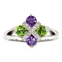 18K White Gold, Diamond, Amethyst & Peridot Birks Ring (Suffragette Commemorative)
