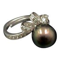 18K Diamond & Tahitian Pearl Ring