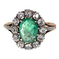 Antique 18K, Emerald & Diamond Ring