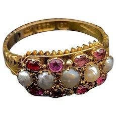 Victorian 15K, Pearl & Pink Tourmaline Ring