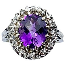 14K White Gold Diamond & Amethyst Ring