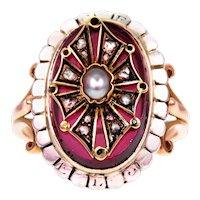 Antique Garnet, Pearl & Diamond French 18k Gold Ring