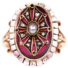 Antique Garnet, Pearl & Diamond French 18k Gold Ring