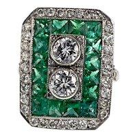 Antique Emerald & Diamond Art Deco Platinum Ring