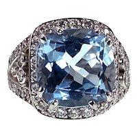 Opulent 18K & 6.15ct  Aquamarine  & Diamond Ring