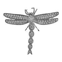 Vintage 18K & Diamond Dragonfly Brooch