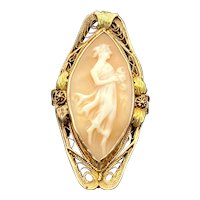 Large Antique 10K Shell Cameo Navette Ring