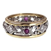 Antique Platinum, 14K, Diamond & Ruby Band Ring