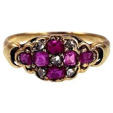 Early Victorian 18K Ruby & Rose-Cut Diamond Ring