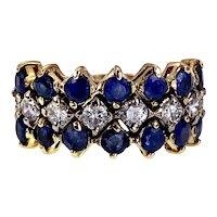 Vintage 14K, Sapphire & Diamond Half Band Ring