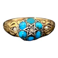 Antique 9K, Turquoise, Seed Pearl & Diamond Flower Ring