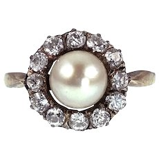 Antique 14K & Siver top, Diamond & Pearl Ring