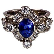 Stupendous 18K, Sapphire & Diamond Ring