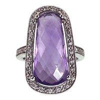 18K Amethyst & Diamond Ring