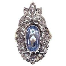Art Deco Platinum, 14K, Diamond & Blue Spinel Conversion Ring