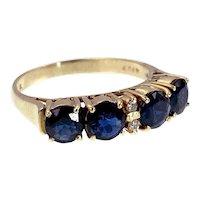 Vintage 14k, Sapphire & Diamond Ring