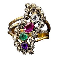 Antique Georgian 9K, 14K, Diamond & Multi Stone Conversion Ring