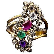 Antique Georgian 9K, 14K, Diamond & Multi Stone Conversion Ring