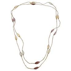 Italian 14K,  Mesh Station Necklace With Semi-Prescious Stones