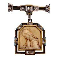 Art Deco 18K Gold, Silver, Diamond, Enamel & Carved White Bone Catholic Icon Brooch