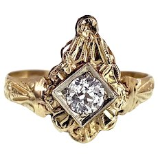 Art Deco 14K & Diamond Stick Pin Conversion Ring