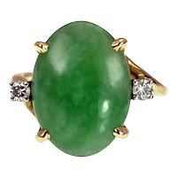 Vintage 14K, Jade & Diamond Ring