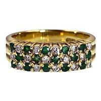 18K, Diamond & Emerald Band Ring