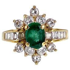 Estate 18K, Emerald & Diamond Ring