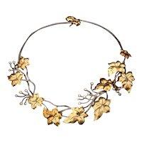 14, 18K, Sterling Silver & Diamond Grape Leaf Vine Necklace