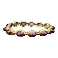 Victorian Etruscan Revival 9K & Purple Ombre Art Glass Bracelet