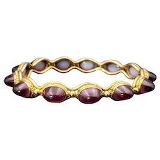 Victorian Etruscan Revival 9K & Purple Ombre Art Glass Bracelet