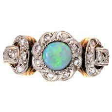Opal and Diamond White & Yellow 18k Gold  Ring