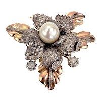 Antique 8K Rose & White Gold, Pearl & Diamond Gardenia Brooch