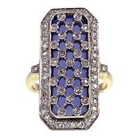 14K, Bold Geometric Diamond & Blue Stone Ring