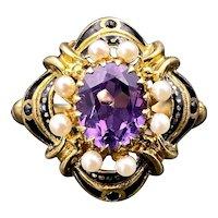 Victorian Revival 14K, Amethyst, Pearl & Black Enamel Ring