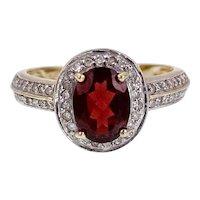14K Red Tourmaline & Diamond Ring