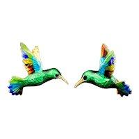 Vintage 14K & Colorful Enamel Hummingbird Brooch Pair