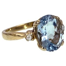 14K, Aquamarine & Seed Pearl Ring