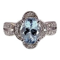 14K, Aquamarine & Diamond Ring
