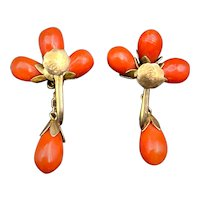 Antique Gold Over Silver & Coral Earrings