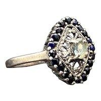 Vintage Sterling, Aquamarine & Blue Topaz Ring