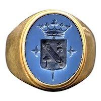 14K & Carved Blue Stone Signet Ring