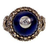 Antique 14K, Diamond & Blue Enamel Bombe Dome Ring