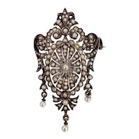 Antique 18K Gold, Silver & Seed Pearl Brooch/Pendant