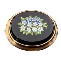 Antique Victorian 14K Micromosaic Forget Me Not Brooch
