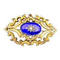 Antique Victorian 14K, Enamel & Seed Pearl Brooch