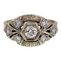 Art Deco 14K White Gold & Diamond Ring